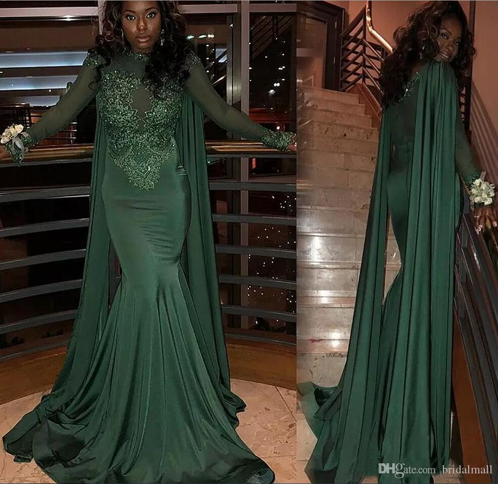 cff5d6aecd Black Girls Dark Green Satin Prom Dresses 2018 Long Sleeves Lace Appliques  Formal Evening Party Gowns South African Evening Dresses Custom Silk Evening  ...