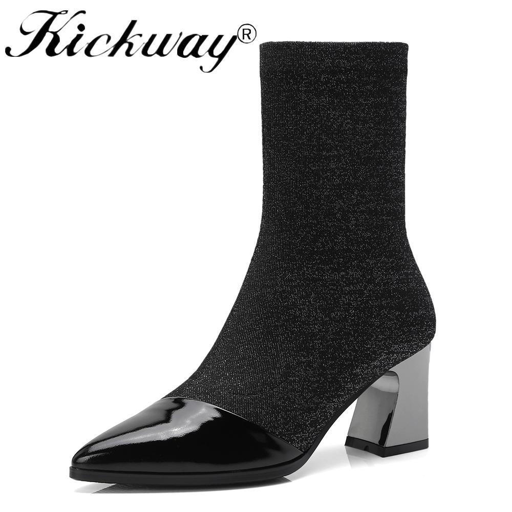 21bde79a23e50a Acheter Kickway Bottes Femme Bout Pointu Toe Elastique Bottines Talon Épais  Talons Hauts Chaussures Femme Chaussettes 2018 Plus Size42 De $84.56 Du  Mkfobia ...