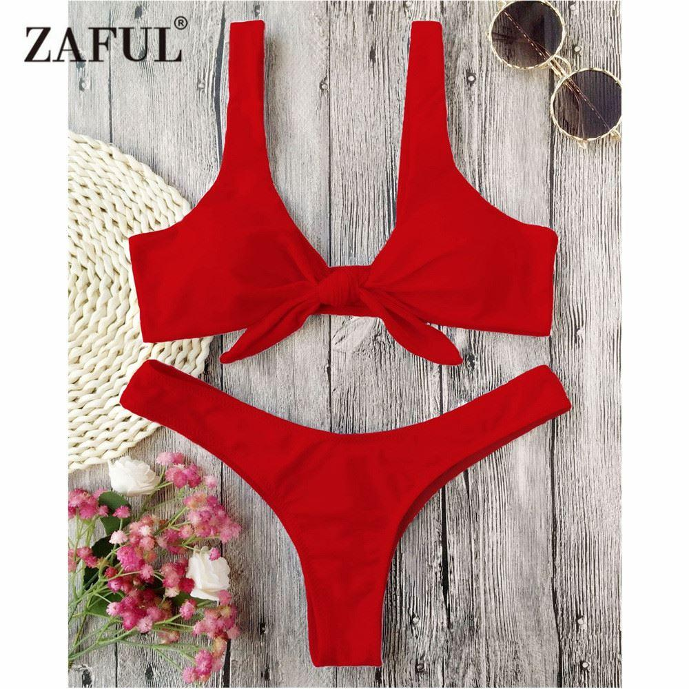4da642cc217dd 2019 ZAFUL Bikini Knotted Padded Thong Bikini Set Women Swimwear Swimsuit  Scoop Neck Solid High Cut Bathing Suit Brazilian Biquni From Xuqiuxiang3