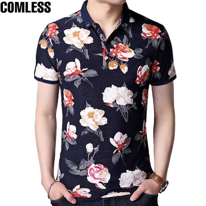 2019 2017 Fashion Mens Polo Shirts Brands Clothing Floral Slim Fit
