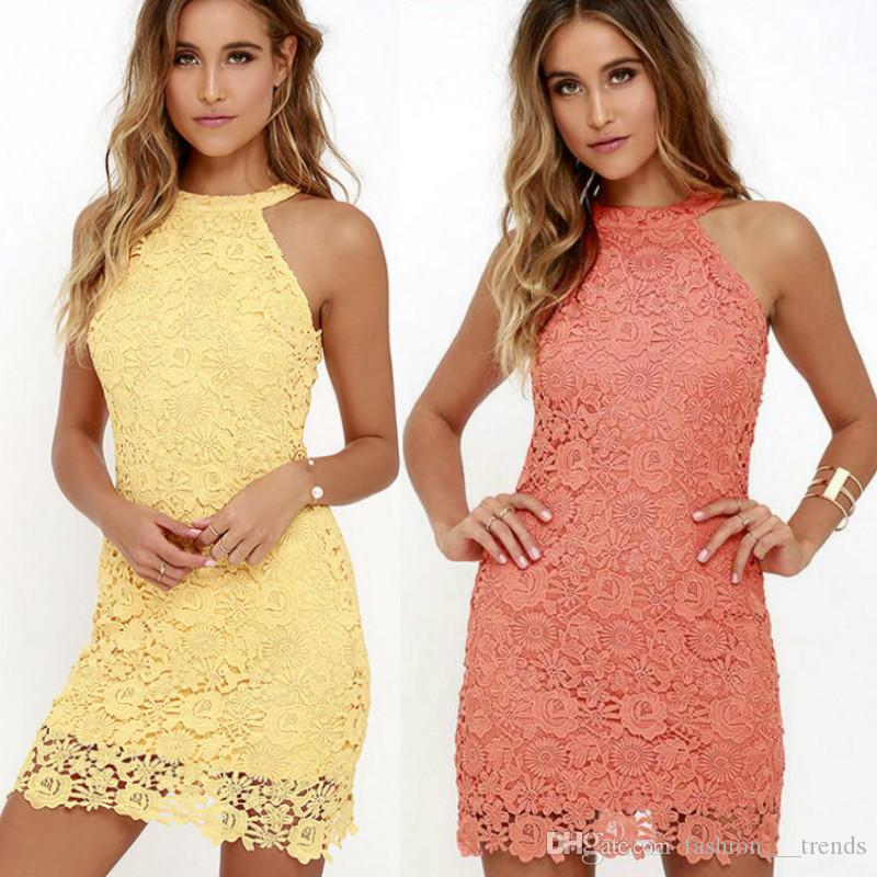 910196c262 Womens Elegant Wedding Party Sexy Night Club Halter Neck Sleeveless Sheath  Bodycon Lace Dress Short Lace Dresses Fashion Casual Lace Dress Short To  Long ...