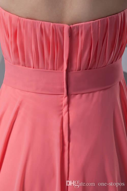 Simple Cheap Chiffon Bridesmaid Dress Watermelon Red Strapless A Line Floor Length Maid of Honor Wedding Guest Gowns Cheap Long ZPT347