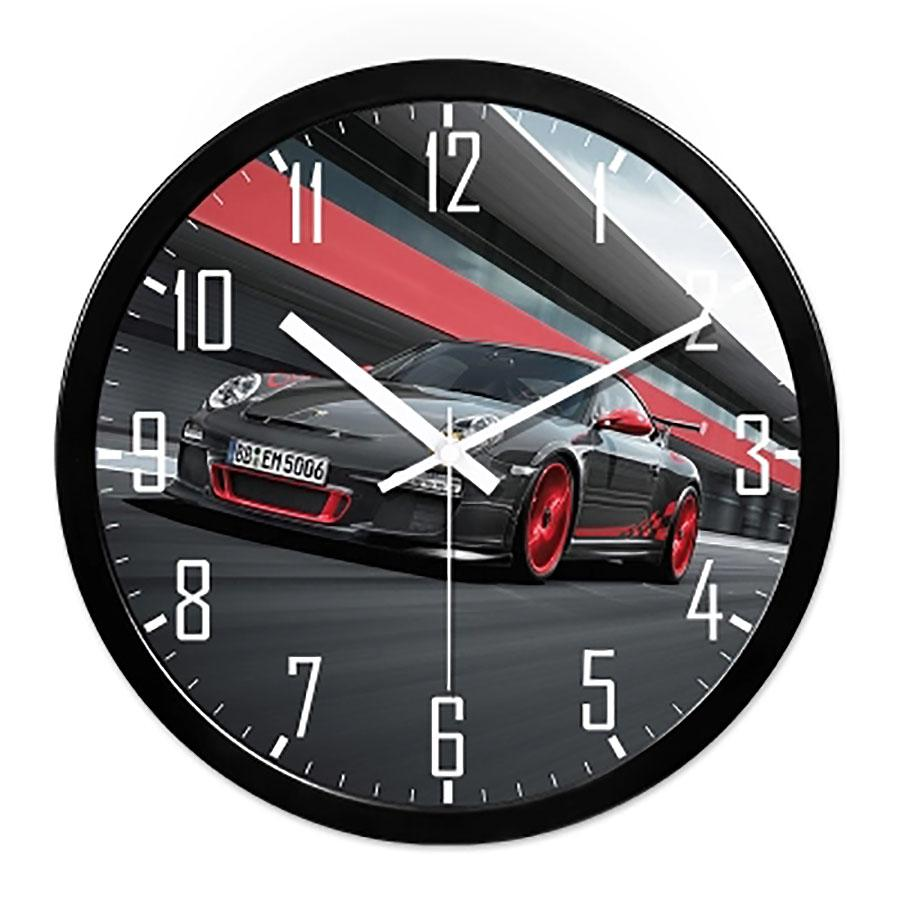 Round Car Silent Wall Clock Creative Personalize Unique Wall Watch