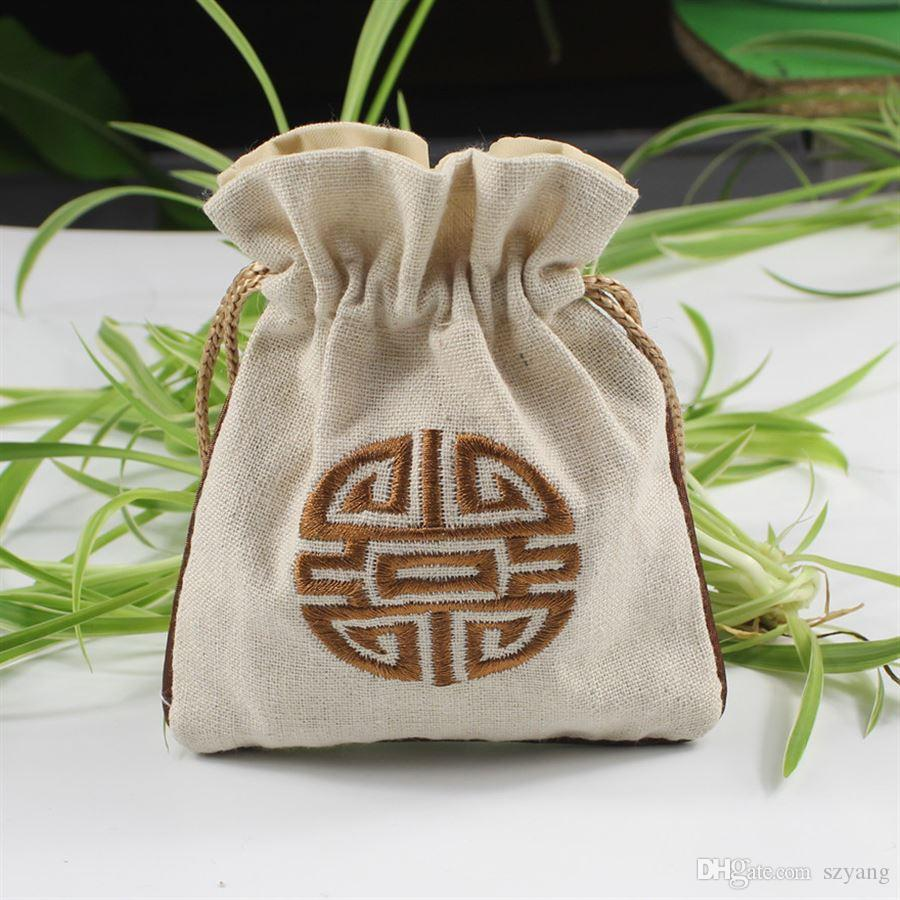 Double Side Embroidery Jewelry Bag Chinese National Style Bag Bodhi Beads Bracelet Earring Necklace Pouch Ethnic Exotic Storage SN1385