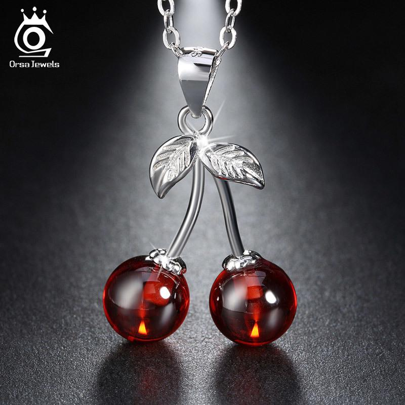 70449603e2ac Compre Orsa Joyas Plata De Ley 925 Rojo Piedra Natural Cereza Colgante  Collares Para Las Mujeres Collar De Joyas De Plata Genuina Regalo Sn03 A   18.14 Del ...
