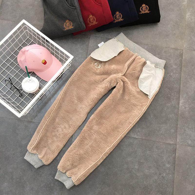 SaHezeng Kadınlar Kış kalın kuzu kaşmir pantolon sıcak kadın rahat pantolon gevşek Harlan pantolon uzun pantolon boyutu 5Xl WP6