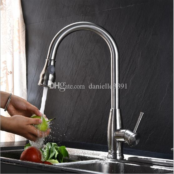 304 Stainless Steel Faucet for Kitchen Sink With Pull and Rotate Two Functions
