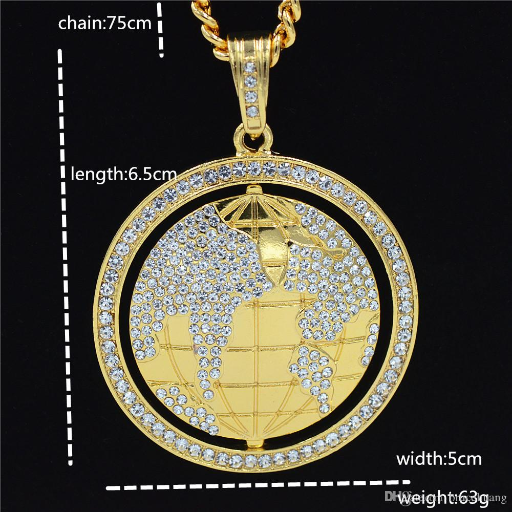 Uodesign New Crystal globe Pendant Necklace Hip hop men jewelry 30inch Cuban Chain bling bling jewelry