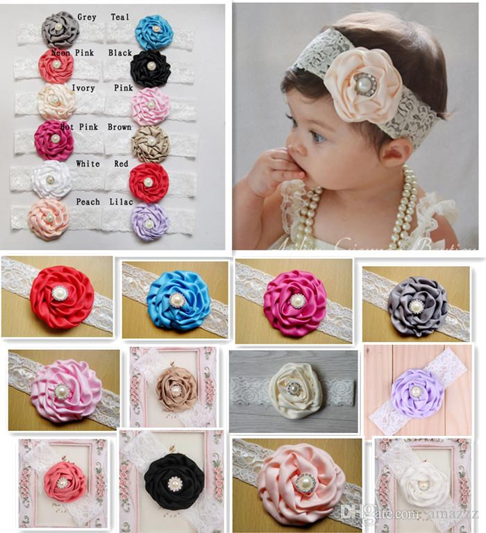 9ebc708bea10d 2018 Infant Flower Pearl Headbands Girl Lace Headwear Kids Baby Photography  Props NewBorn Bow Hair Accessories Baby Hair bands