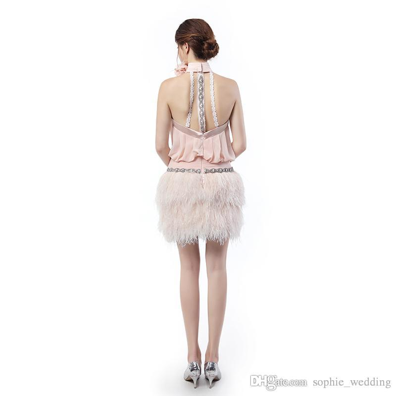 Feather Prom Dresses 2018 Sexy Fashion High Neck Party Gowns Robe de Soiree Evening Dress Vestidos Longos Para Formatura