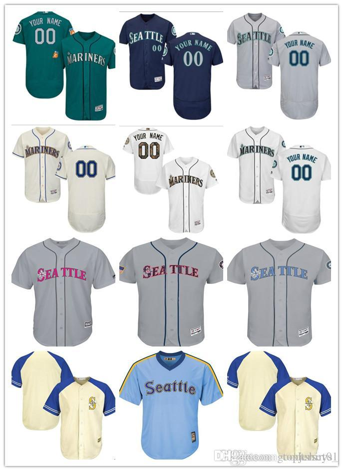 0981dd5d6 Custom Mariners Jersey Men Women Youth Majestic Personalized #00 Any ...
