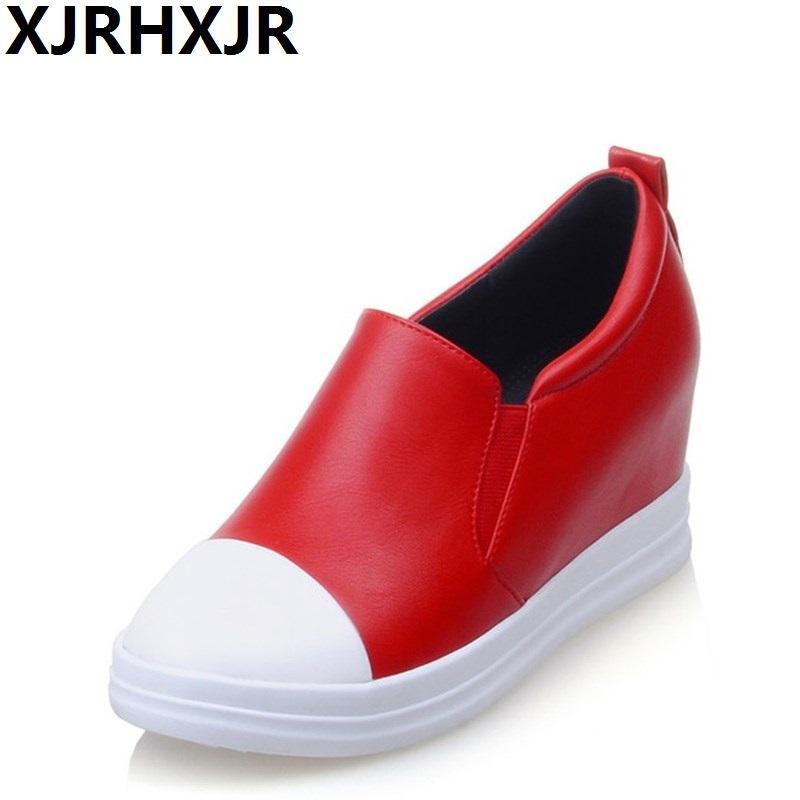 9d7c11e1 Compre XJEHXJR Tamaño 32 43 Zapatos Grandes Mujer Moda Nueva Primavera  Zapatos Casuales Mocasines Plataforma Cuñas Tacones Vestido Femenino Negro  Rojo A ...