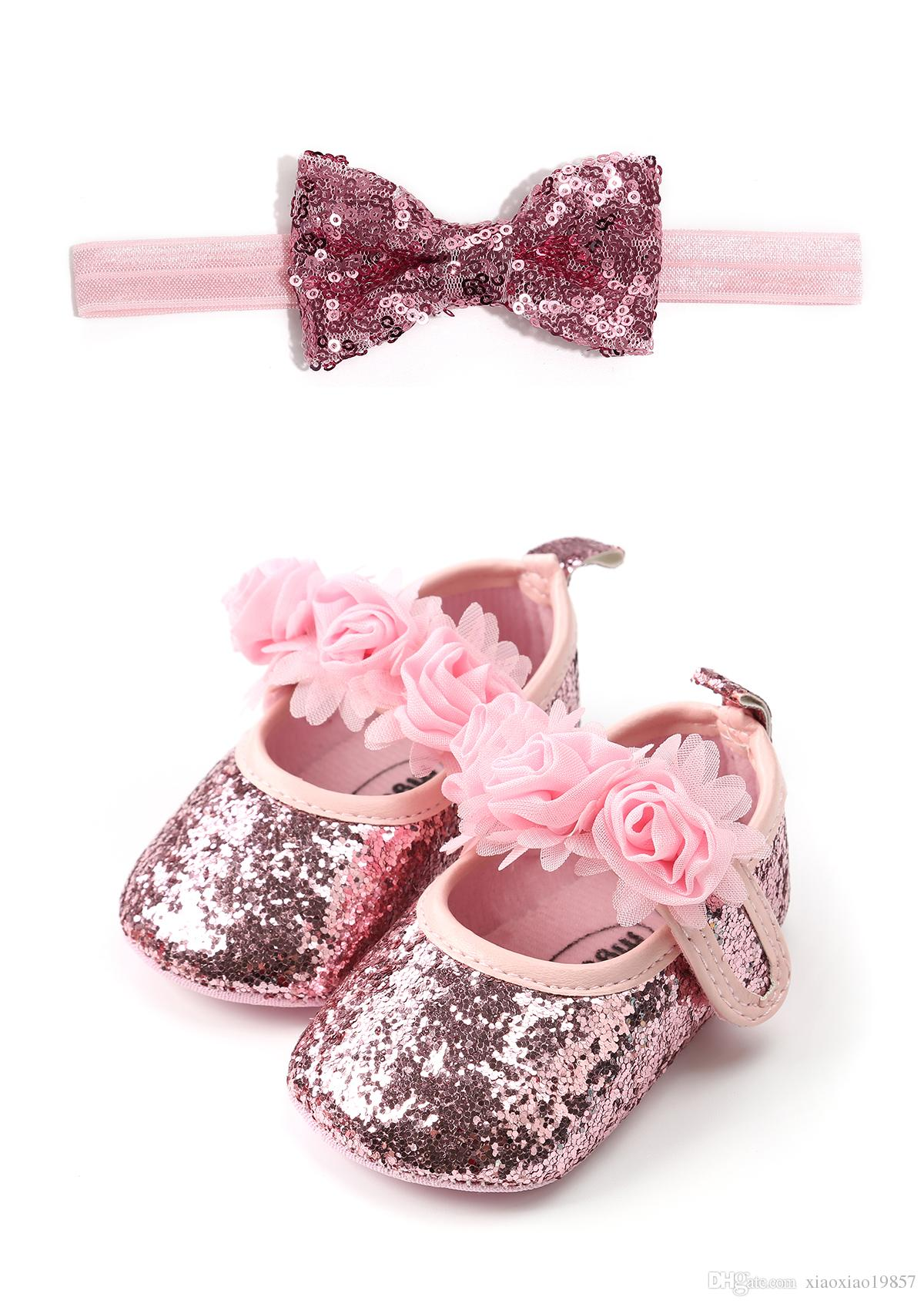 2019 Fashion Bling PU Leather Baby Girl Shoes + Ribbon Elastic Headband Baby  Set Cute 0 18M Newborn First Walker Gift Soft Sole Shoe From Xiaoxiao19857 93067cadd76e