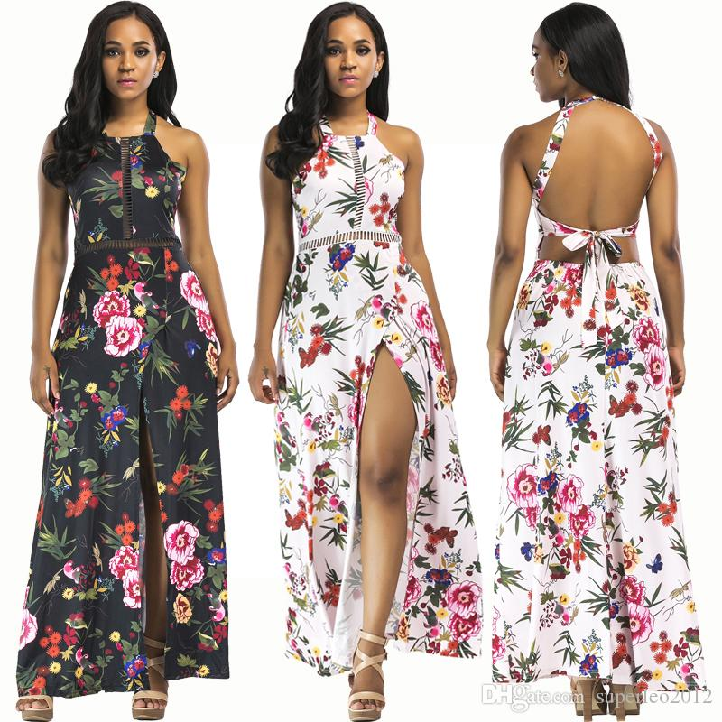 9d59e021b5 2019 Women S Floral Printed Maxi Dress Sleeveless Halter Neck Spaghetti  Strap Long Dress Slit Club Backless Dress YD5033 From Superleo2012