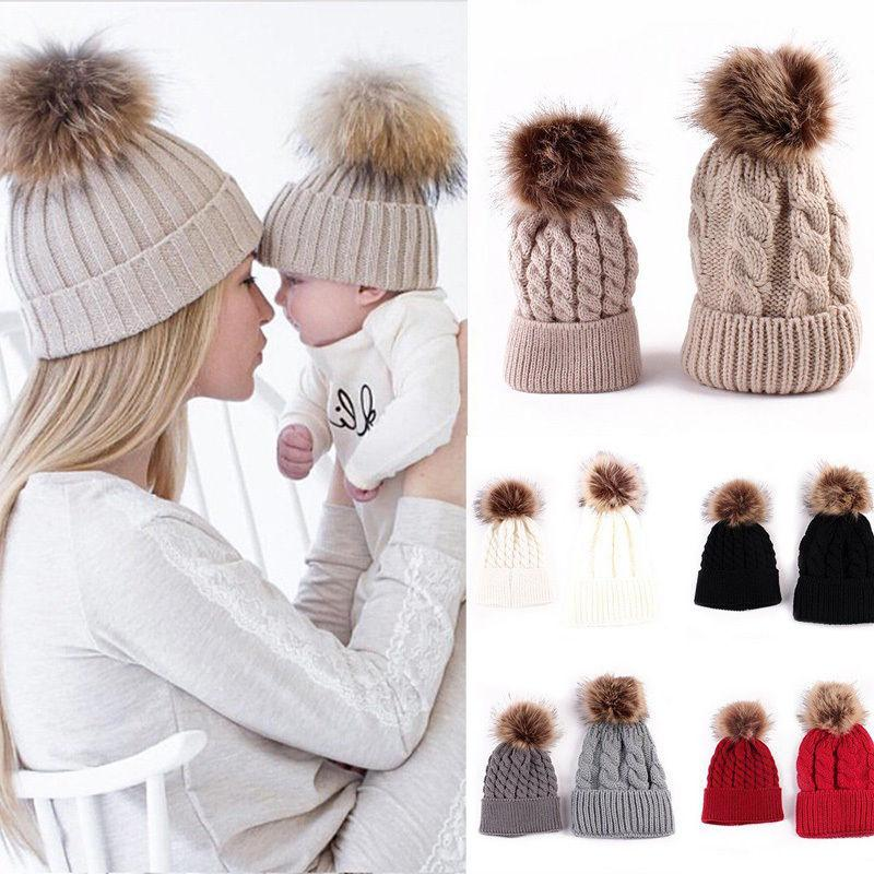 2019 Mother Kids Child Baby Warm Winter Knit Beanie Fur Pom Hat Crochet Ski  Cap Cute From Fkansis a7457c065b7