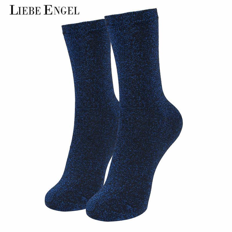 style le plus récent concepteur neuf et d'occasion magasiner pour authentique LIEBE ENGEL Chaussettes à paillettes de mode femmes en coton solide or  brillant chaussettes en vrac pour les femmes filles 2017