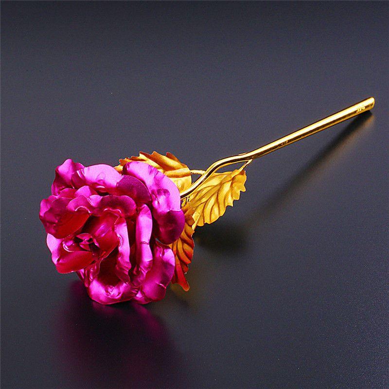 Moda 24k Altın Folyo Kaplama Gül Yaratıcı Hediyeler Severlerin Düğün Noel Günü Hediyeleri Ev Dekorasyon için Sonsuza Rose Sürer