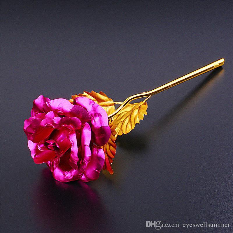Moda 24k doni di stagnola placcato oro rosa creativi dura sempre Rose giorno delle nozze regali di natale dell'amante Home Decoration