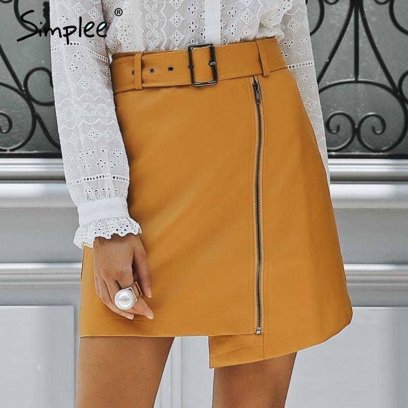 f4d35e76bdb63 Simplee Sexy High Waist PU Leather Skirt Streetwear Sash Mini Skirts Short  Women Bottom 2018 Zipper A-line Autumn Winter Skirt High Quality Skirts  Skirts ...