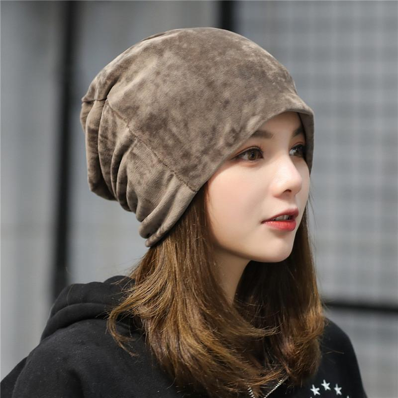 Casual Winter Velvet Warm Slouch Hip Hop Hats for Women Solid Baggy Skullies Beanies Hat Female Fashion Cap Women Y18110503