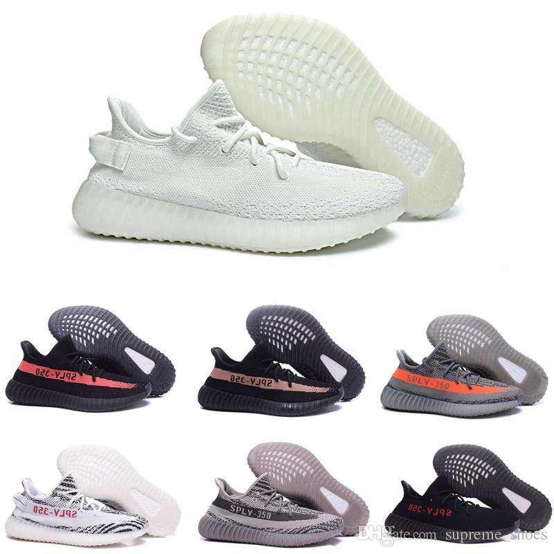 123e1d9f4c7 2019 Mens Running Shoes 350 V2 Beluga Zebra Black Powder White Red ...