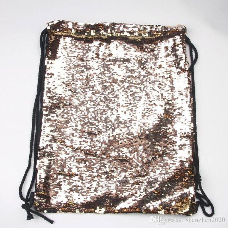 Mermaid Sequin Backpack Sequins Drawstring Bags Reversible Paillette Outdoor Backpack Glitter Sports Shoulder Bags Travel Bag 2018