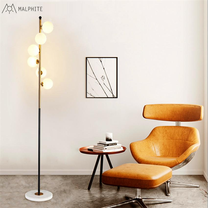 2019 Nordic Fashion Creative Floor Lamp White Glass Ball Model Room