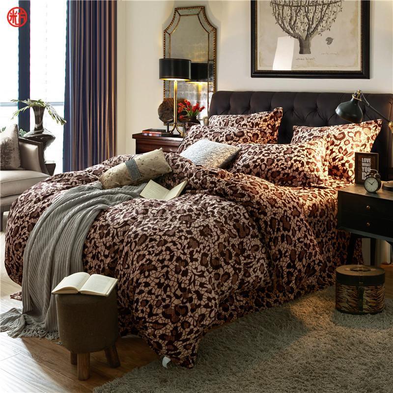 home textile coffee flower coral velvet bedding set king queen fleece duvet cover warm soft winter bedding bed sheet linen star bedding sets on sale duvet - Velvet Bedding