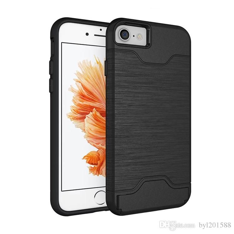 Caixa da cor do metal para o iphone 5 5s se 6 6 s com kickstand suporte titular 2 em 1 slot de cartão de crédito de plástico à prova de choque de silicone