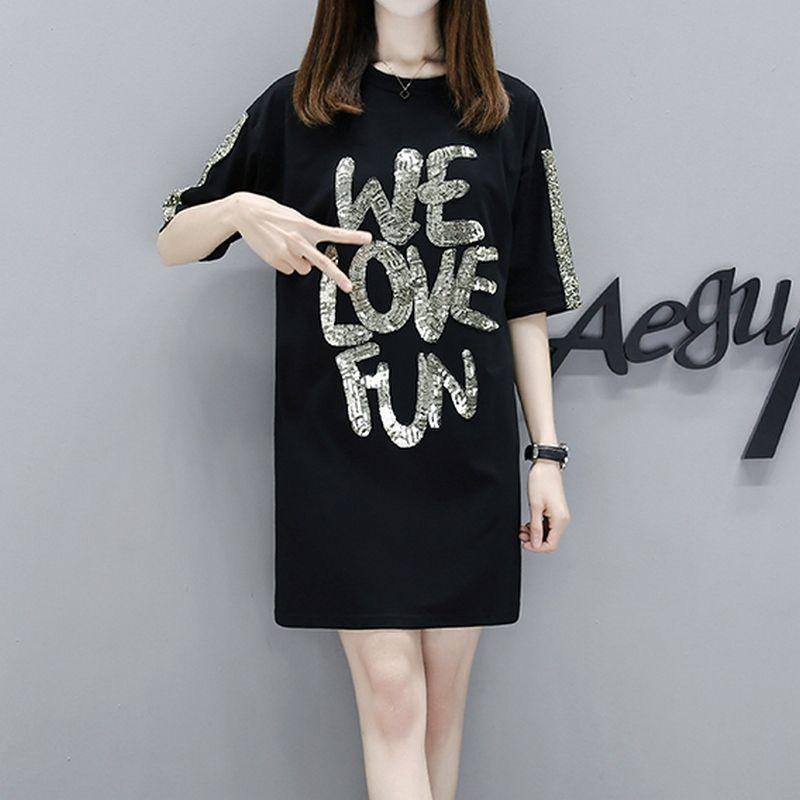 a4a6c9a3c2ae Oversized Long Shirt Dress Women Sequin Patchwork Summer Loose Maxi Dresses  Letter Print Knee Length Black Female Clothing Robe Little Black Dresses  One ...