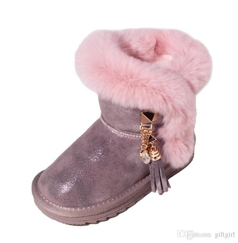 99912e14c66ff Acheter Geniue Bottes En Cuir Pour Filles Bottes En Coton Pour Enfants Mode  Bottes D hiver Réchauffées Pour Grils Bottes Fourrées Bottes De Neige Pour  Bébés ...