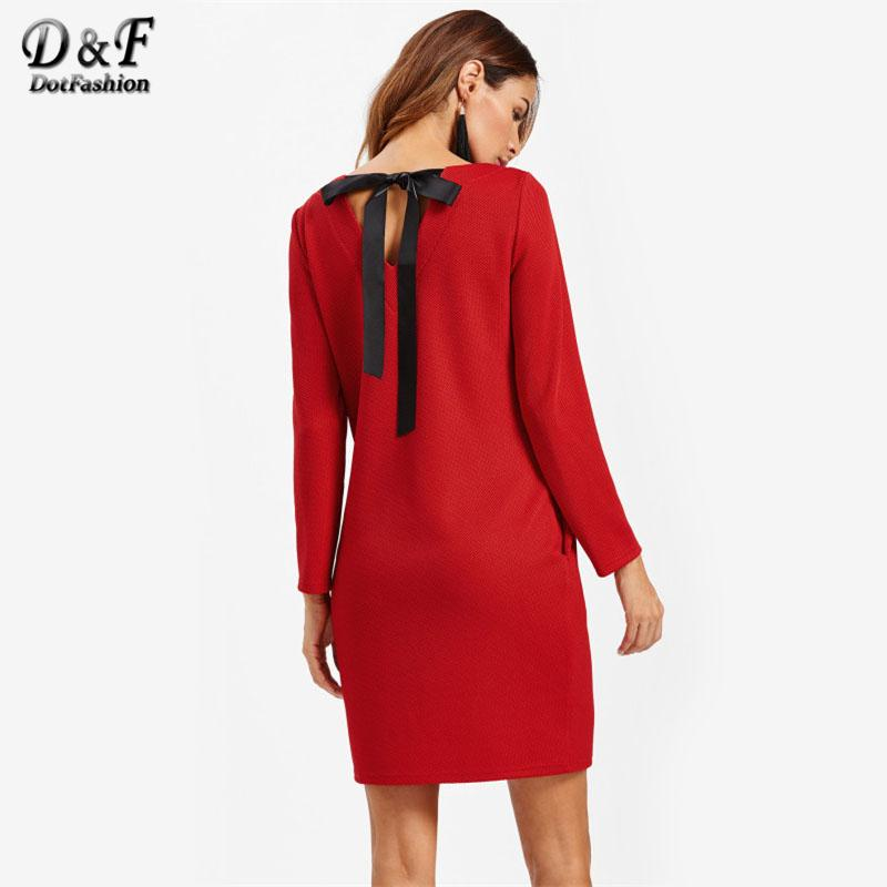 7d33505791c4 Wholesale V Cut Bow Back Textured Dress 2017 Women Round Neck Red Tunic  Dress Bow Pockets Long Sleeve Knee Length Shift Dress Women Long Dress  Floral White ...