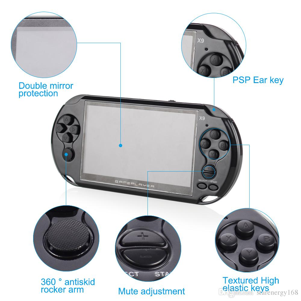 8GB X9 Handheld Game Player 5 Inch Large Screen Portable Game Console MP4 Player with Camera TV Out TF Video for GBA NES Game free shipping