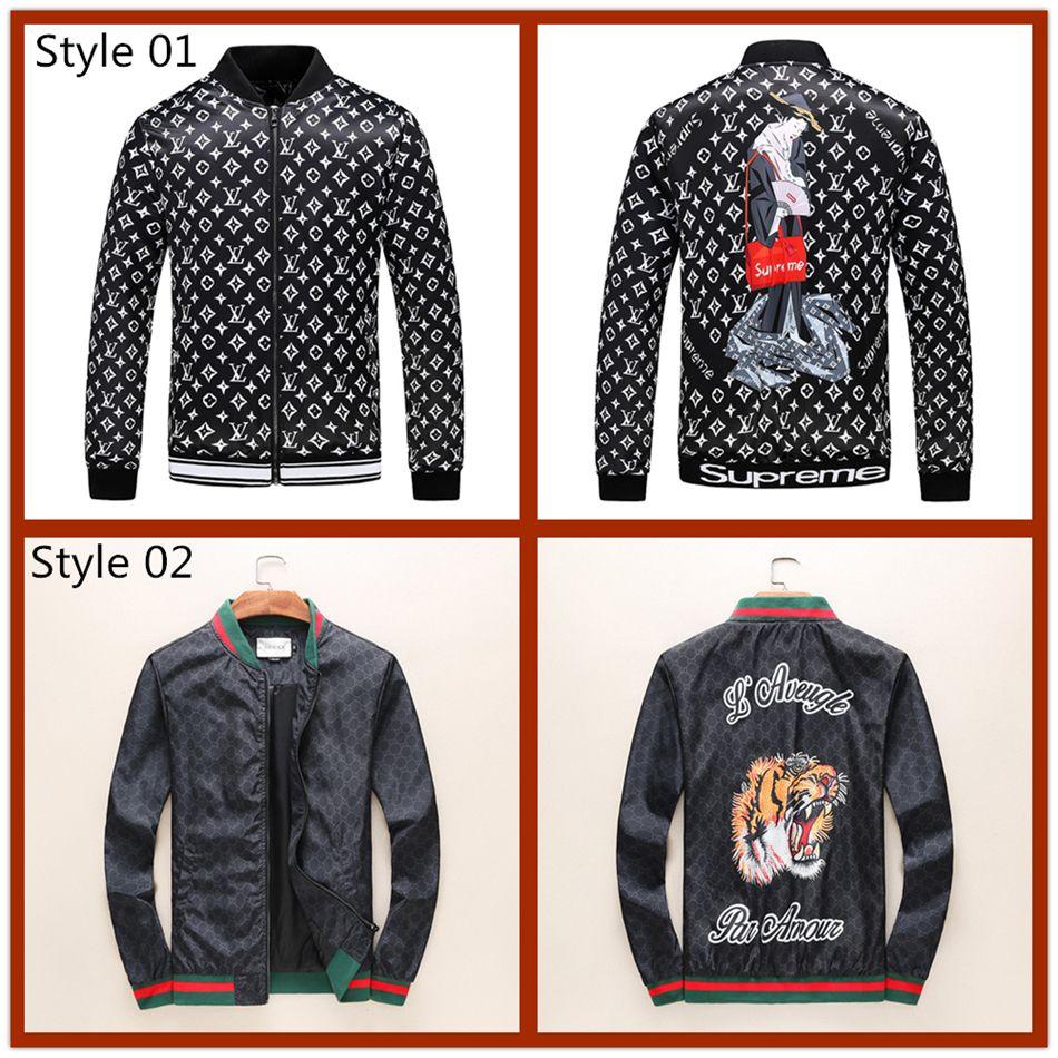 60e74fa2977ff 2018 Brand Designer Luxury Mens Jackets New Fashion Casual Printed  Outerwear Coats Plus Size Black Red Sportswear Zipper Spring Autumn  06 Denim  Jacket ...