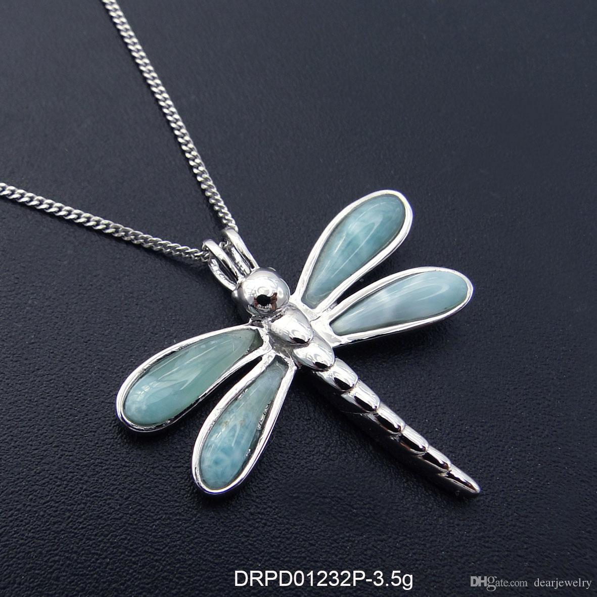 Fashion jewelry 925 silver Larimar Pendant gift Rhodium Plated DRPD01232P Free Shipping