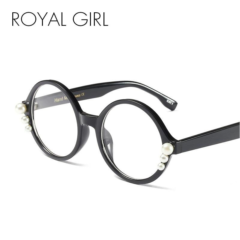 96b9710917 ROYAL GIRL Vintage Round Glasses Women Fashion Pearl Black Leopard Frame  Eyeglasses Female Transparent Clear Lens Glasses Os026 Eyewear Frames Cheap  Eyewear ...