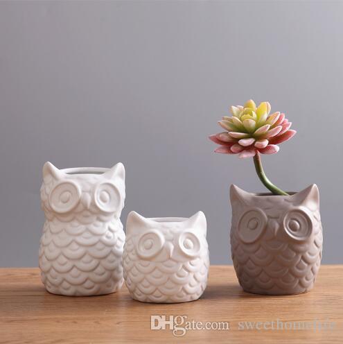 White Animal Figurine Ceramic Owl Pot Flower Vase Crafts Room