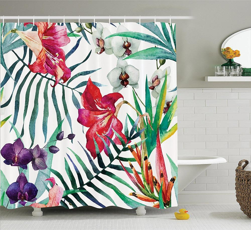 2019 Tropical Wild Orchid Flowers With Palm Leaves Shower Curtain Printing Waterproof Mildewproof Polyester Fabric Bath From Williem