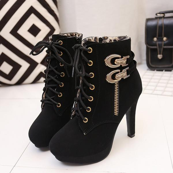 3912c457ff00 Women Short Ankle Boots Leather Snow Boots Thick Heels Female Women Shoes  Shoe Shops Cheap Shoes For Women From Indelibility_, $32.17  DHgate.Com