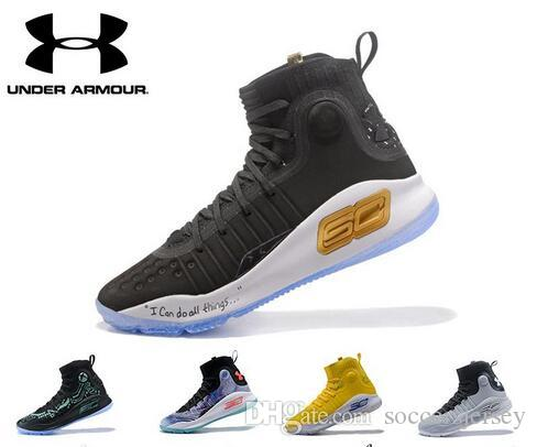 Wholesale UA Stephen Curry 4 Men Basketball Shoes Gold Championship ... fbbeb0792
