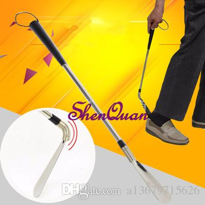 free shipping iron metal shoe horns, extra 60cm long handled telescopic shoehorn for boots on sale