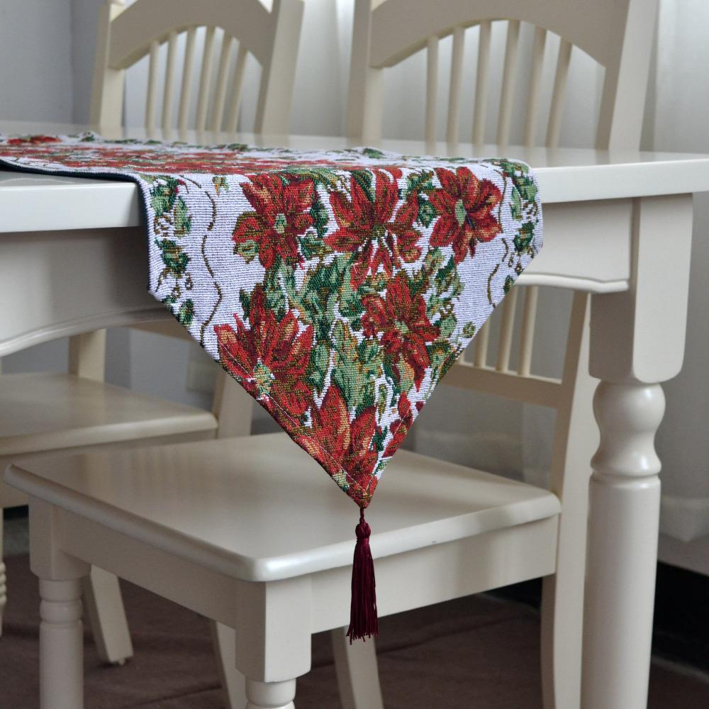 Großhandel Weihnachten Tischläufer Blumendruck Tisch Läufer Mit ...