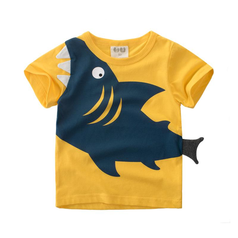 f9cea32a12a 2019 2018 New Cartoon Shark Pattern Kids T Shirts For Girls Children T  Shirts For Boys Short Sleeve Tops Baby Blouses Cotton Clothing From ...