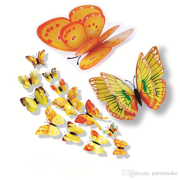 Cinderella Double Layer butterfly 3d butterfly decoration wall stickers 3d butterflies pvc removable wall stickers Manget butterflys