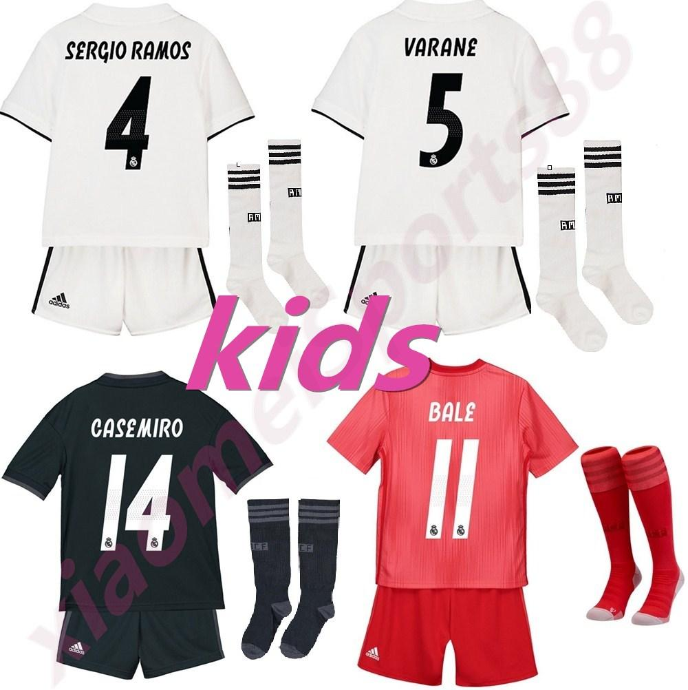 f2de3f915 ... discount 2019 real madrid kids kit soccer jersey 18 19 home white away  3rd red boy