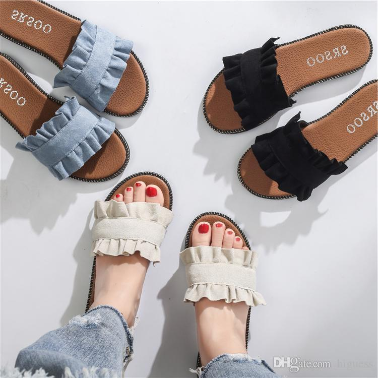 f6212977c 2018Free Shipping Women Slide Summer Korean Fashion Wide Flat Slippery With Thick  Sandals Slipper House Stud Flip Flop With Spike For Female Purple Shoes ...
