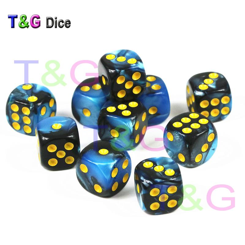 10 teile / satz von 12mm D6 Casino Cube, Würfel mit Gold Standard Dot Als Würfel Turm