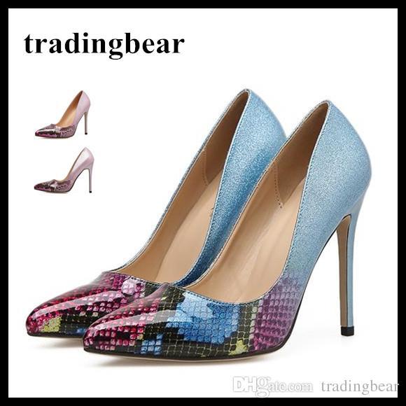 1feb4f7c0fcd0 Acheter Belle Sirène Bleu Rose Imprimé Talons Hauts Pointu Toe Pompes Dames Chaussures  Taille 35 À 40 De  28.79 Du Tradingbear   DHgate.Com