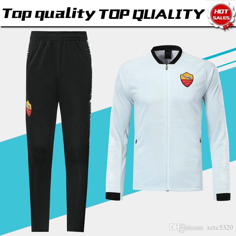 Compre Roma Jaqueta Manga Longa Kits Camisa De Futebol Branco 2019 Roma  Preto Uniforme De Treinamento 18 19 Fatos De Futebol Jaqueta + Calças Em  Vendas De ... a093776469756
