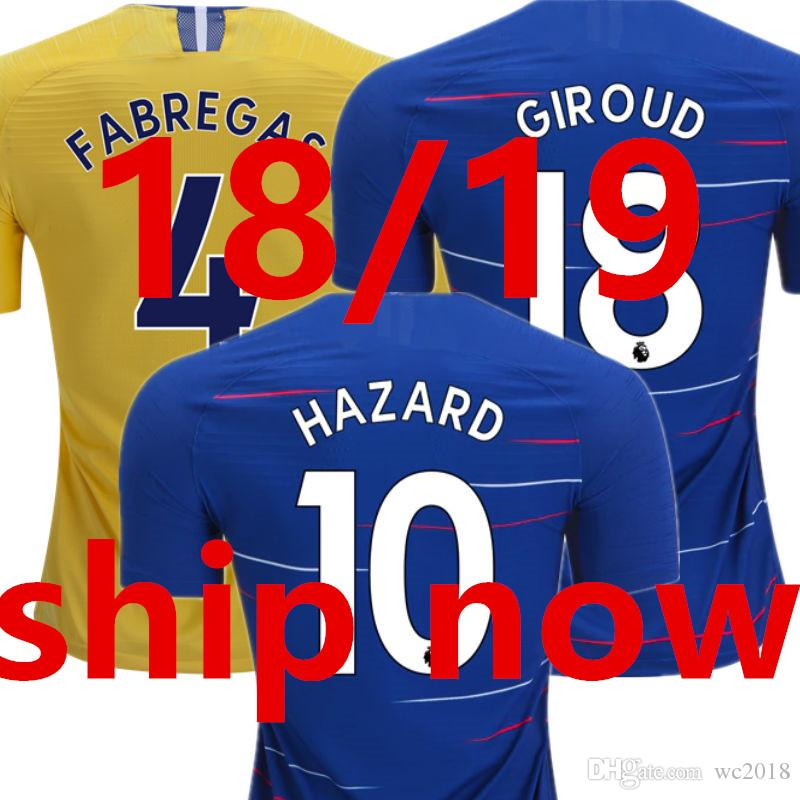Camisetas De Fútbol 18 19 Chelsea 2019 Soccer Jersey 2018 HAZARD GIROUD  KANTE FABREGAS DAVID LUIZ JORGINHO Premier League Inicio Camisa Maillot  Football ... ff2653af61754